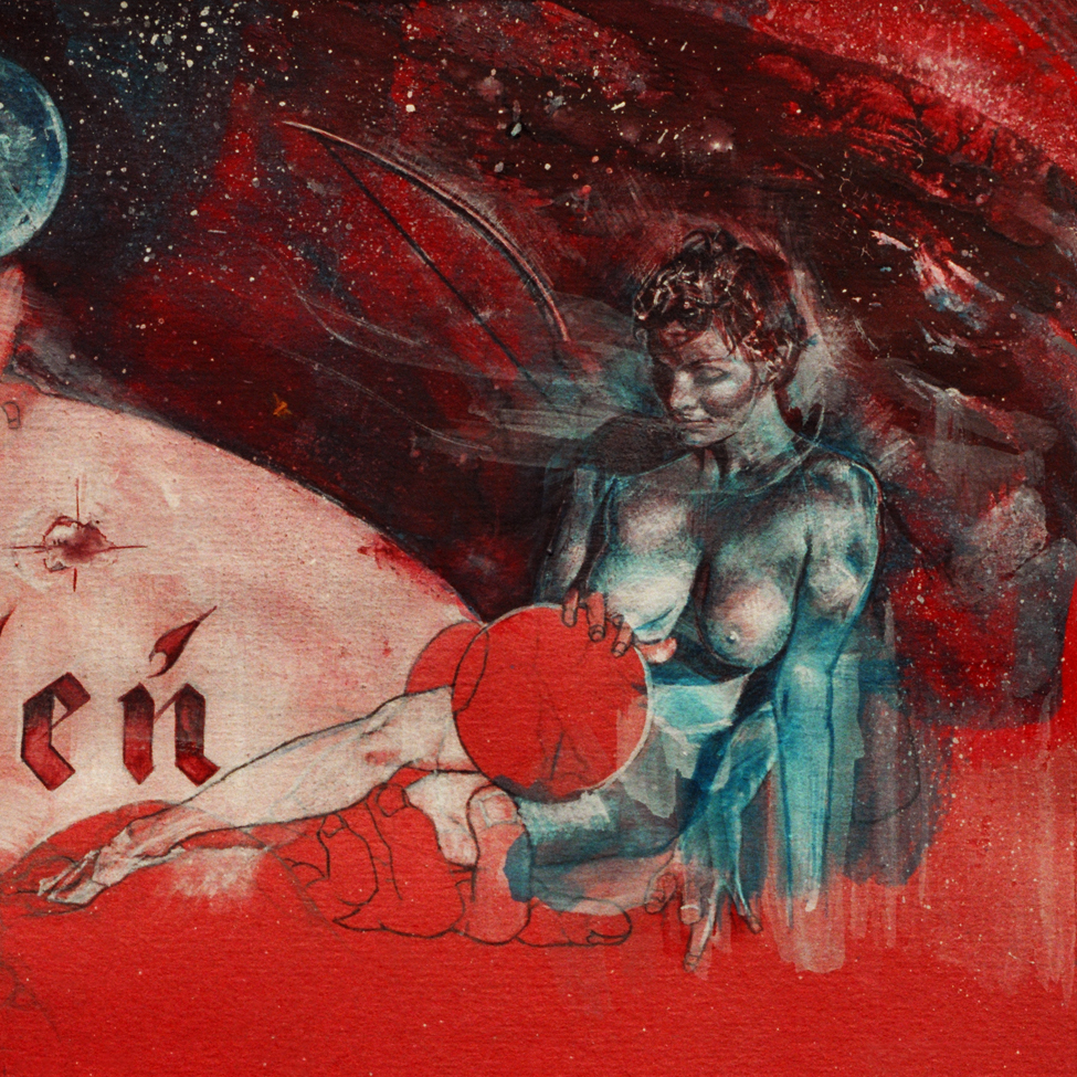 """""""Diana"""", watercolor and gouache on red paper."""