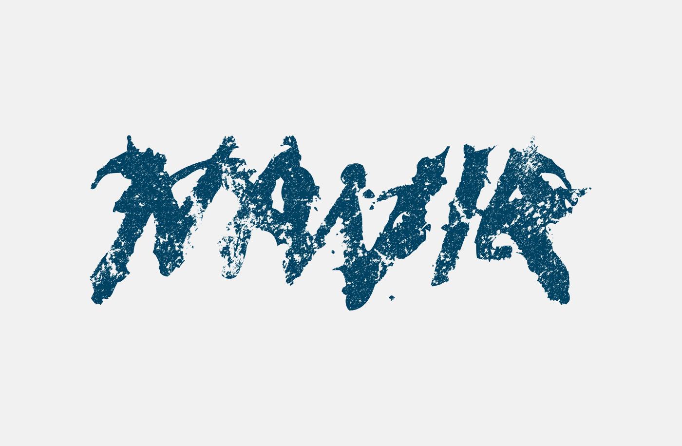 Navia Logo (blue version), ink on paper and then Photoshop. Heavy Metal Band Logo Design.
