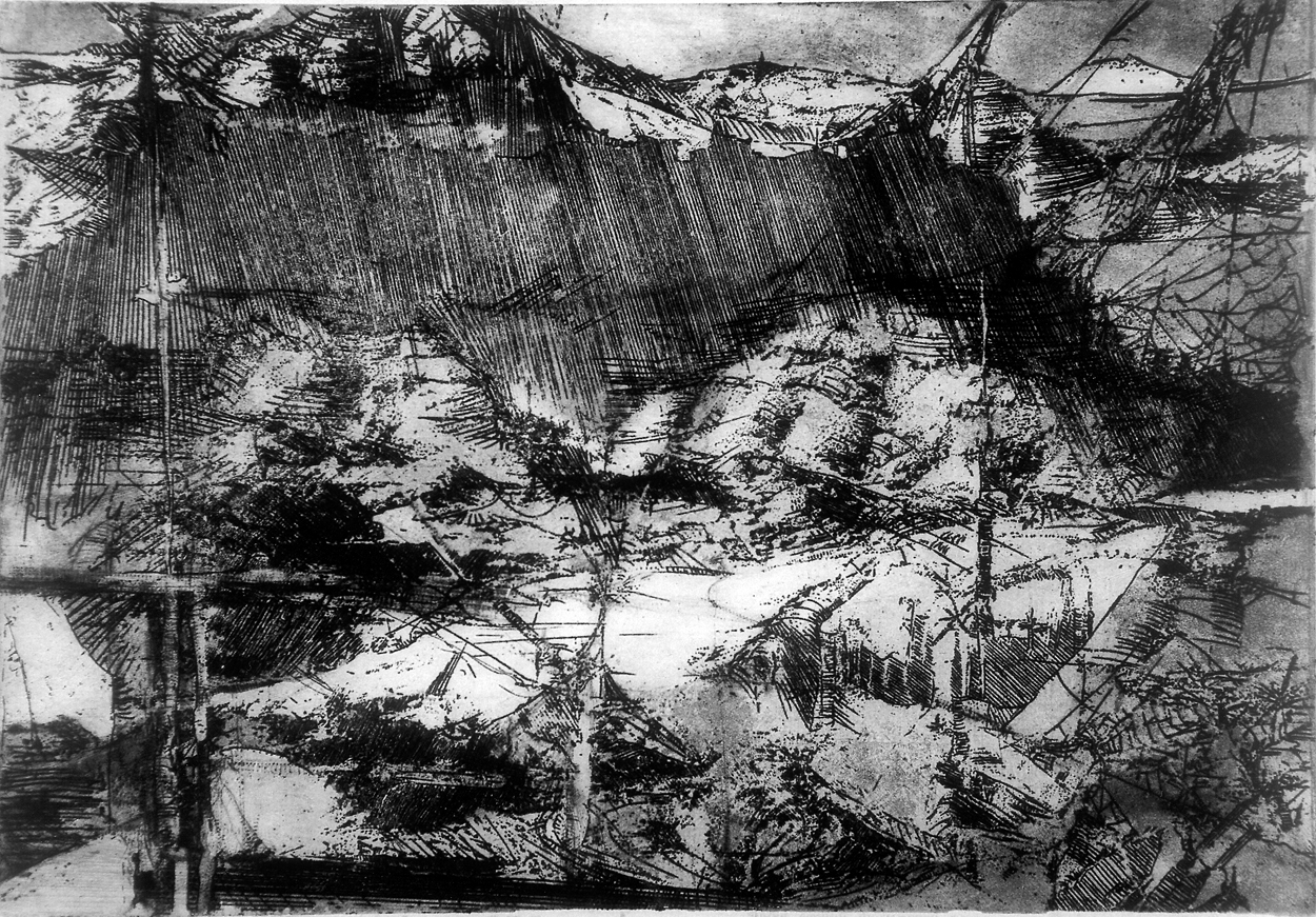 """Other worlds"", etching and aquatint."